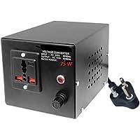 Gadget-Wagon 75 Watts 220v to 110v Transformer Stepdown Voltage Converter for 3 pin Metal Cord, Multi Country (Black)