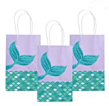 Mermaid Party Gift Bags, Treat Bags for Kids Handle Paper Bag Glitter Tail Design, Mermaid Party Supplies Goodie Bags for Mermaid Party, Under The Sea Party Gifts-14Pcs