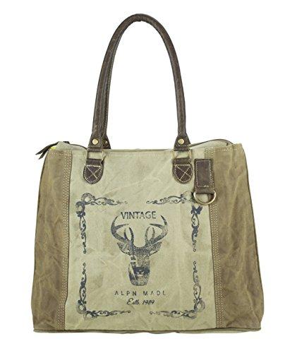 Domelo Tracht borse da Donna / Uomini Vintage Borse a tracolla Borsette in Canvas / Telo olona con pelle 53006