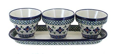 Pot Flower Polish (Polish Pottery Mosaic Flower Pots with Tray)
