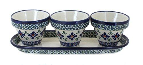 Flower Pot Polish (Polish Pottery Mosaic Flower Pots with Tray)
