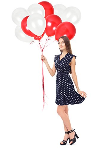 lloons Latex Balloon ft. Pack of 100 Pieces of Solid White and Metallic Red Balloons & White Crimped Curling Ribbon for Valentines Party Birthdays Wedding Decoration (Red/White) (Red Column)