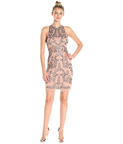Adrianna Papell Women's Sleeveless Beaded Short Dress, Rose Gold, 14