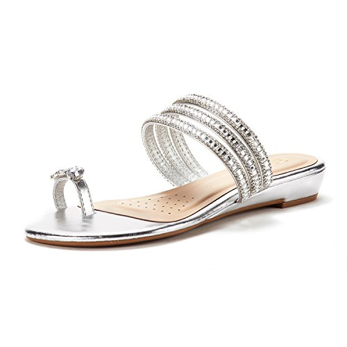 DREAM PAIRS Women's Jewel_05 Silver Fashion Rhinestones Design Slides Sandals Size 10 M ()
