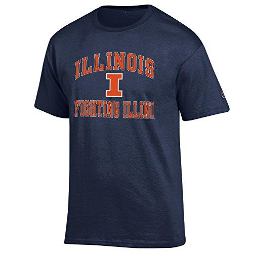 Champion NCAA Men's Shirt Short Sleeve Officially Licensed Team Color Tee, Illinois Illini, XX-Large