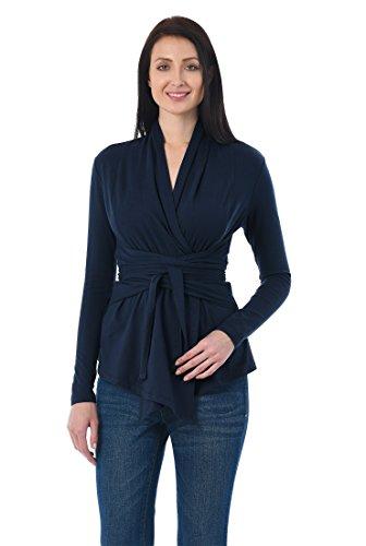 eShakti Women's Obi Belt Cotton Knit Wrap Tunic XL-16 Regular Deep Navy (Waist Tie Tops Jersey)