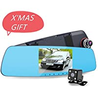 CLEVER BEAR HD Mirror Cam Full HD 1080P 5 Inch Mirror With Rear View Camera Car Dash Cam Dual Lens Monitor Night Vision