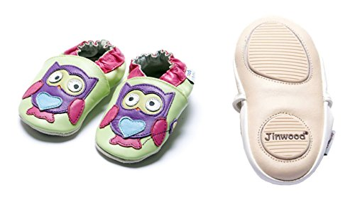 Jinwood designed by amsomo Verschiedene Modelle - Lederpuschen - Echt Leder - Hausschuhe - Krabbelschuhe - Mädchen - Jungen - Soft Sole/Mini Shoes Div. Groeßen 17/19-35/36 owl purple mini shoes