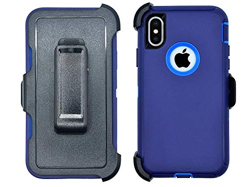 iPhone Xs Max Case,Blngo [Dust-Proof] Belt-Clip Heavy Duty Kickstand Cover[Shockproof] Rugged Armor PC+TPU Apple iPhone Xs Max Phone Charms Flip Cases (Blue)