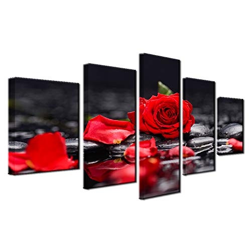Hierarchy Art Red Rose 5 Panels Painting Wall Art Modern Giclee Prints Decor Floral Artwork on Black Canvas for Living Room ()
