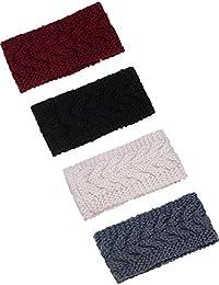 4 Pieces Chunky Knit Headbands Winter Braided Headband Ear Warmer Crochet Head Wraps for Women Girls, 4 Colors