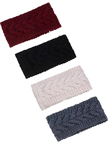 TecUnite 4 Pieces Chunky Knit Headbands Winter Braided Headband Ear Warmer Crochet Head Wraps for Women Girls (Color set 1)