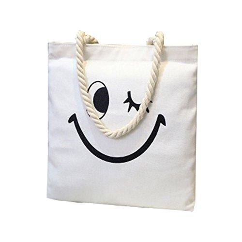 Shopper blanco4 Impresión Lona Bolsos Bolso Cara Bandolera De Tote CTOOO Sonriente Mujer De 8w7YSnxqA