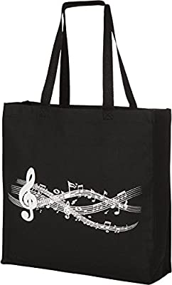 Large Gusseted Canvas Music Piano Tote Bag