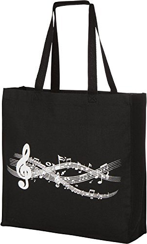(Large Gusseted Canvas Music Piano Tote Bag)
