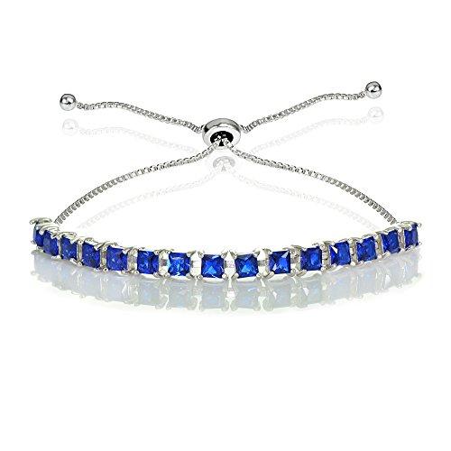 Blue Sapphire Square Bracelet (Sterling Silver 3mm Created Blue Sapphire Princess-cut Adjustable Bolo Tennis Bracelet)