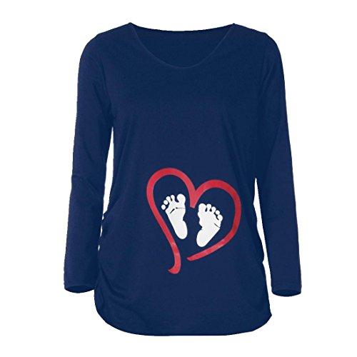 b2ceecfc90462 Hometom Maternity Tops Baby Footprint T-Shirt