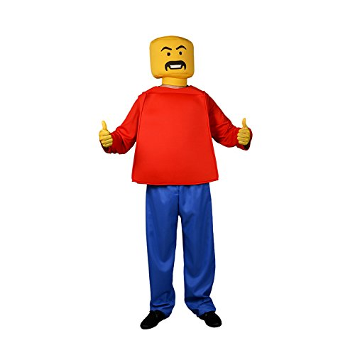Blockhead Costumes (Morphsuits Men's Morphcostume Co Mr. Block Head Unisex Costume, Red/Blue/Yellow, One Size)