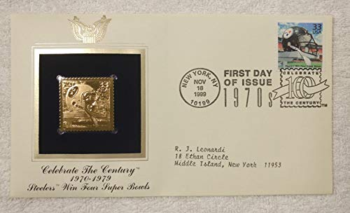 The Pittsburgh Steelers Win Four Super Bowls - Celebrate the Century (The 1970s) - FDC & 22kt Gold Replica Stamp plus Info Card - Postal Commemorative Society, 1999 - Chuck Noll, the Steel Curtain