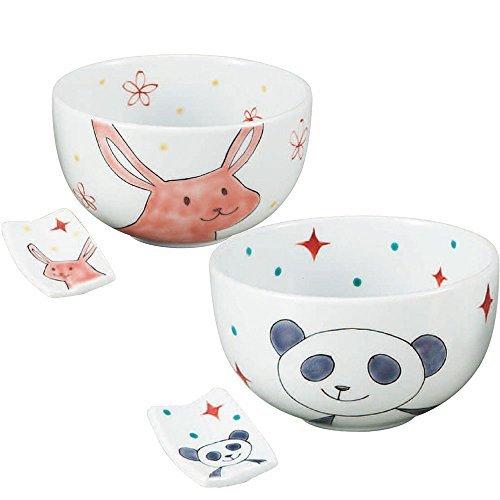 Kutani Yaki(ware) Japanese Pair Rice Bowl Panda and Rabbit