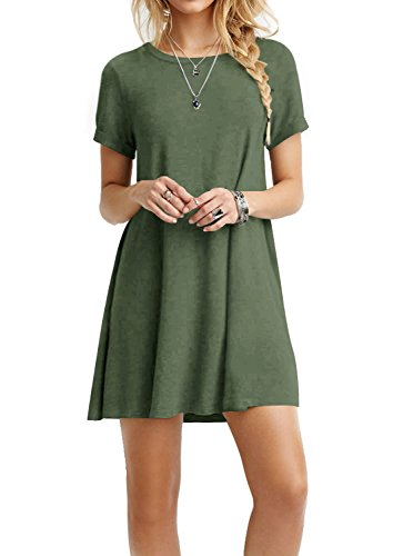 TOPONSKY Women's Casual Plain Short Sleeve Simple T-shirt Loose Dress,Ad Armygreen,Large -