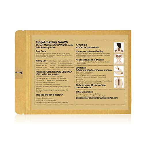 AMJ Pain Relief Patch - 7 Patches Chinese Medicine Herbal Pain Relieving Patch for Neck, Back, Shoulder, Leg, Foot, Arthritis, Muscle, Joint Pain Relief (1 x 7 Patches)