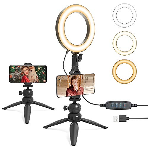 UHURU 6″ LED Ring Light with Tripod Stand & Phone Holder for Live Stream/Makeup,Portable Ring Light for YouTube Video Conference Vlogging Compatible with iPhone Android