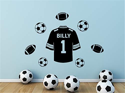bailan Decals Wall Stickers Sayings Lettering Room Home Wall Decor Mural Art Football Shirt with Personalised Name for Boys -