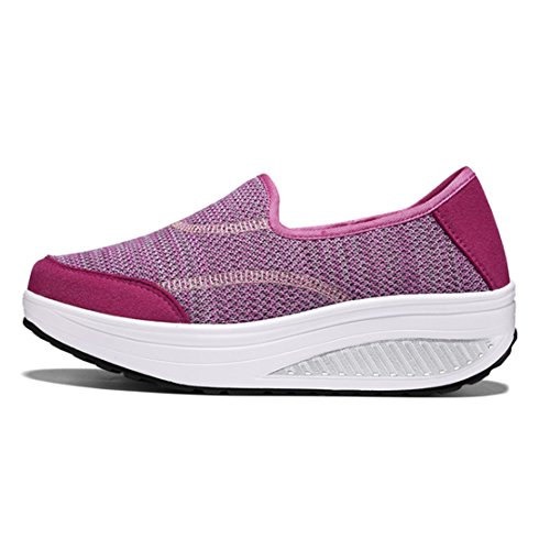 wyhweilong Women Sneakers Outdoor Walking Running Slip on Wedges Breathable Mesh Shoes for Women Pink
