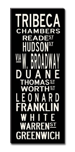 Uptown Artworks Tribeca Subway Sign Art Gallery Wrapped Canvas, Black and Vintage White, 20 by 50-Inch