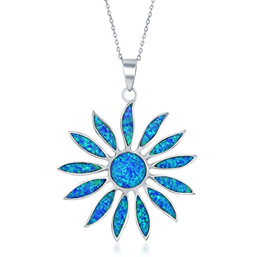 (Sterling Silver Created Blue Opal Daisy Flower 18
