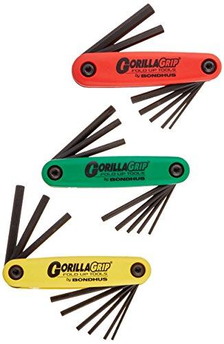 Bondhus 12550 GorillaGrip/« Set of 12 Hex Fold-up Keys sizes 5//64-5//32-Inch /& 1.5-5mm