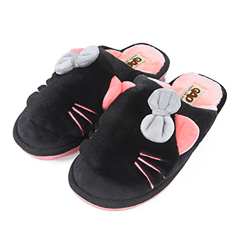 PRAGOO Frauen Mädchen Katze Bowknot Hausschuhe Warme Plüsch Schuhe Indoor Schlafzimmer Schuhe Pantoffeln Weiche Wärme Slippers Rutschfeste Schwarz