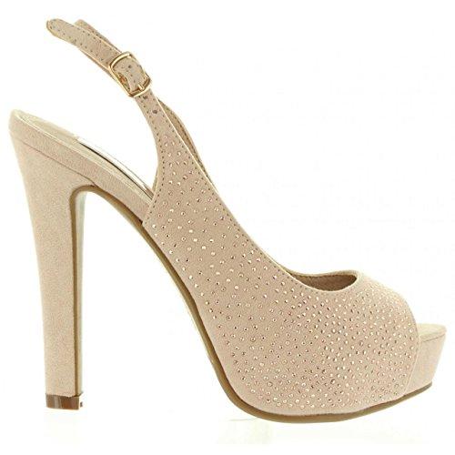 XTI Zapatos de Tacón de Mujer 30561 Antelina Nude