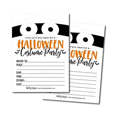 25 Mummy Halloween Party Invitation Cards for Kids Adults, Vintage Birthday or Wedding Bridal Baby Shower Paper Invites, Scary White Costume Dress up, Horror DIY Spooktacular House Bash Idea Printable]()