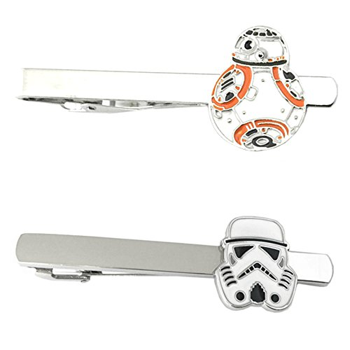 Outlander Star Wars - BB-8 Flat & Storm Trooper - Tiebar Tie Clasp Set of 2 Wedding Superhero Logo w/Gift Box by Outlander