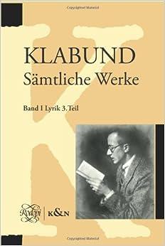 Book Klabund. Samtliche Werke: Band I, Lyrik. Dritter Teil.: 3