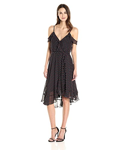 Betsey Johnson Women's Chiffon Wrap Dress, Black/Multi 6