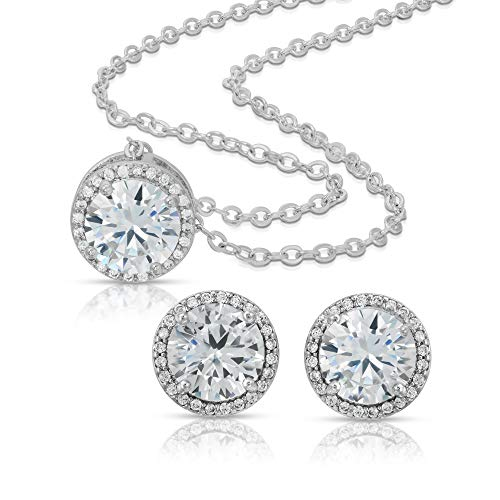 BRIDE DAZZLE Bridesmaid Gifts - Pretty Halo Cubic Zirconia Necklace & Earrings Set (18