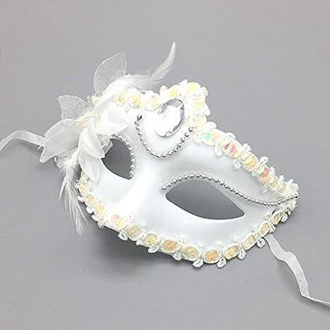Daliuing Masque v/énitien /él/égant l/éger Halloween Festival Dentelle Masque Masque avec fleur D/écor pour soir/ée d/éguis/ée 19.5 11cm blanc