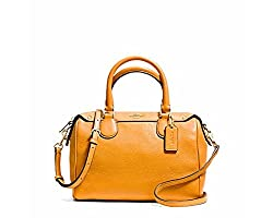 Coach Pebble Leather Mini Bennet Satchel - Orange Peel