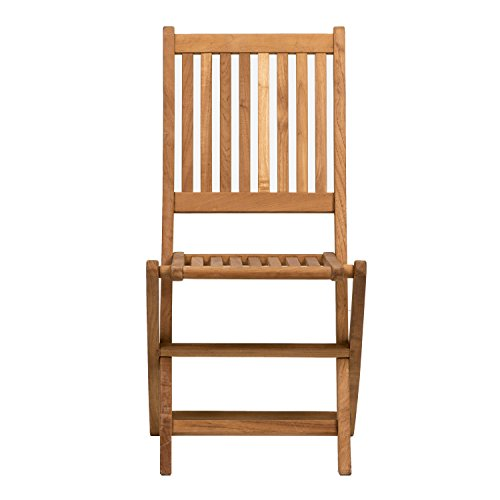 Amazonia London 2-Piece Folding Chair Certified Teak Ideal for Outdoors, Light Brown