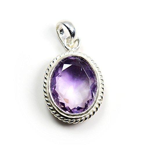 (Gemsonclick Natural Genuine Amethyst Pendant 5 Carat Gemstone Silver Chakra Healing Birthstone Oval Necklace)