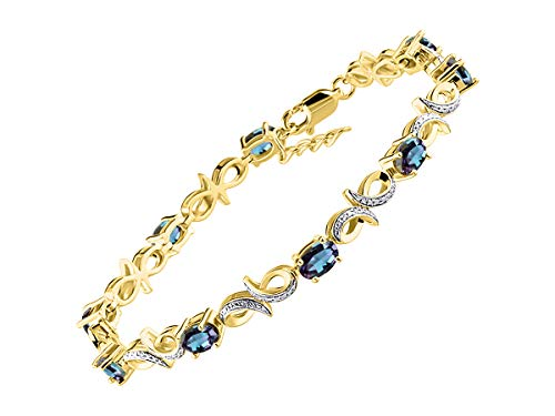 - Stunning Simulated Alexandrite/Mystic Topaz & Diamond Infinity Tennis Bracelet Set in Yellow Gold Plated Silver - Adjustable to fit 7