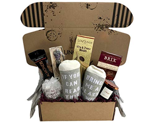(Wine Lovers Perfect Gift Basket Box with Bring Me Some Wine Socks and)