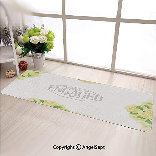 Hot Sale Sweet Home Stores Long Mat,We Are Engaged Announcement with Roses and LeavesYellow and Green,Custom Living & Bedroom Soft Runner Rug