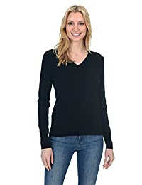 State Fusio Women's Cashmere Wool Long Sleeve Pullover V Neck Soft Sweater