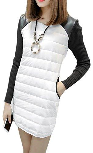 Cruiize Womens Couleur De Contraste Élégant Épaississent Robe Polaire À Manches Longues Blanc
