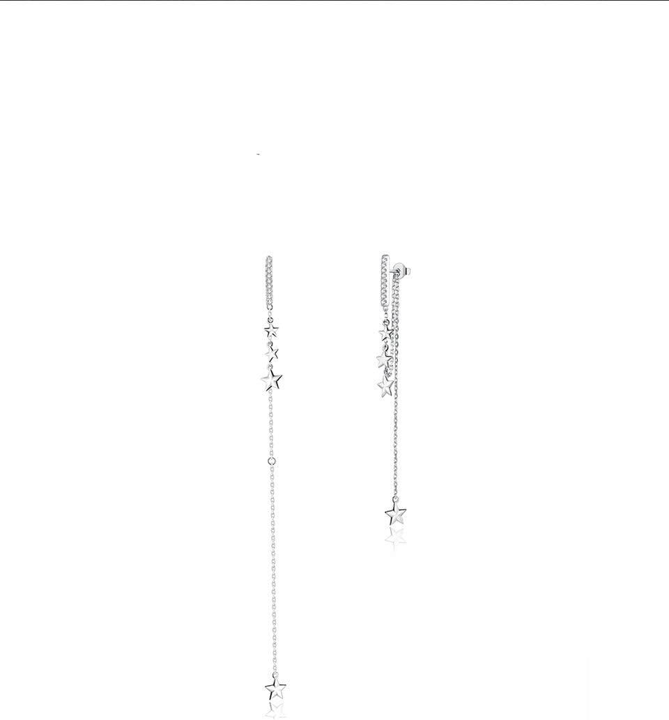 NOBRAND Pendientes Colgantes de Plata 925 Pendientes Largos con borlas de Estrella de Mango Brillante para Mujer Nuevo Fino