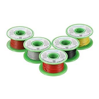 bntechgo 20 Gauge Silikon Draht Spule 5 Farben je Farbe 30 ft red ...